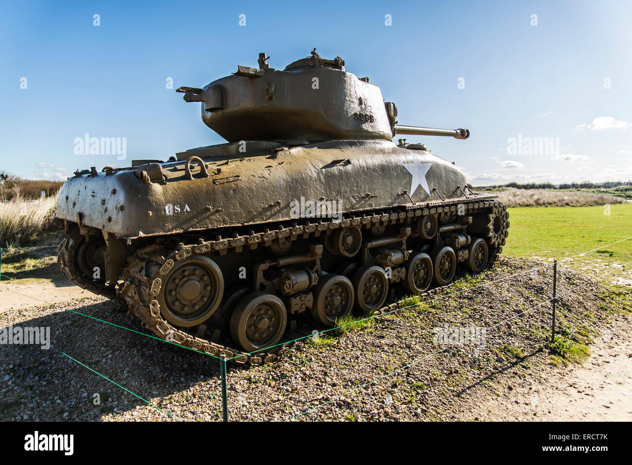 US tank standing to celebrate the Operation Overlord in Normandy, France Stock Photo