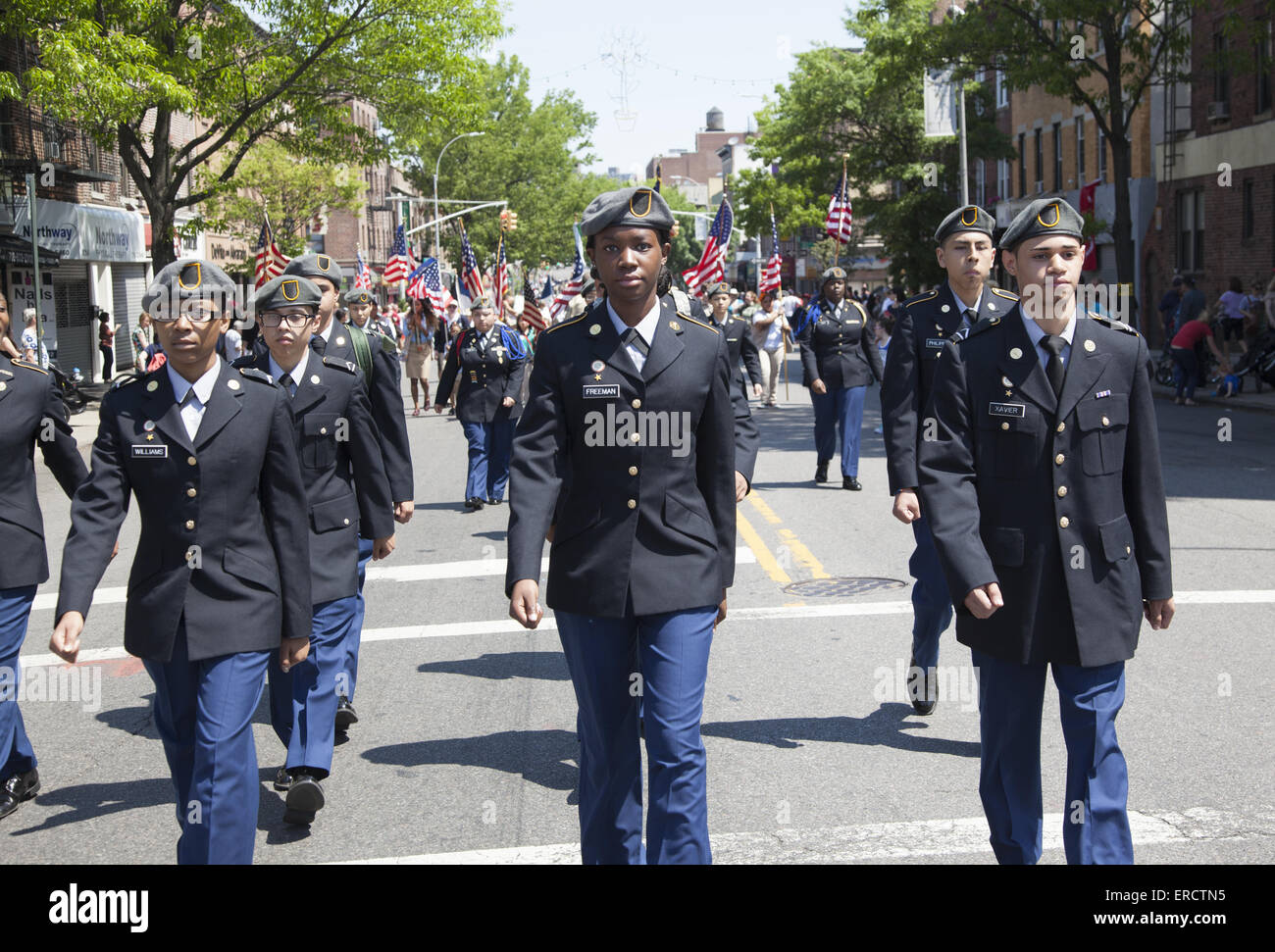 High School JROTC march in the Memorial Day Parade in Bay Ridge Brooklyn, NY. - Stock Image