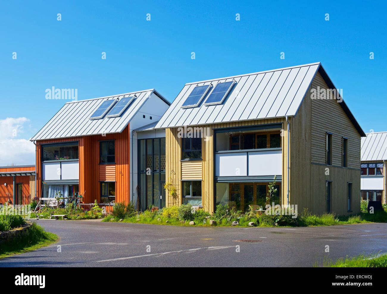 Houses in eco-village, Findhorn Foundation, Moray, Scotland UK - Stock Image