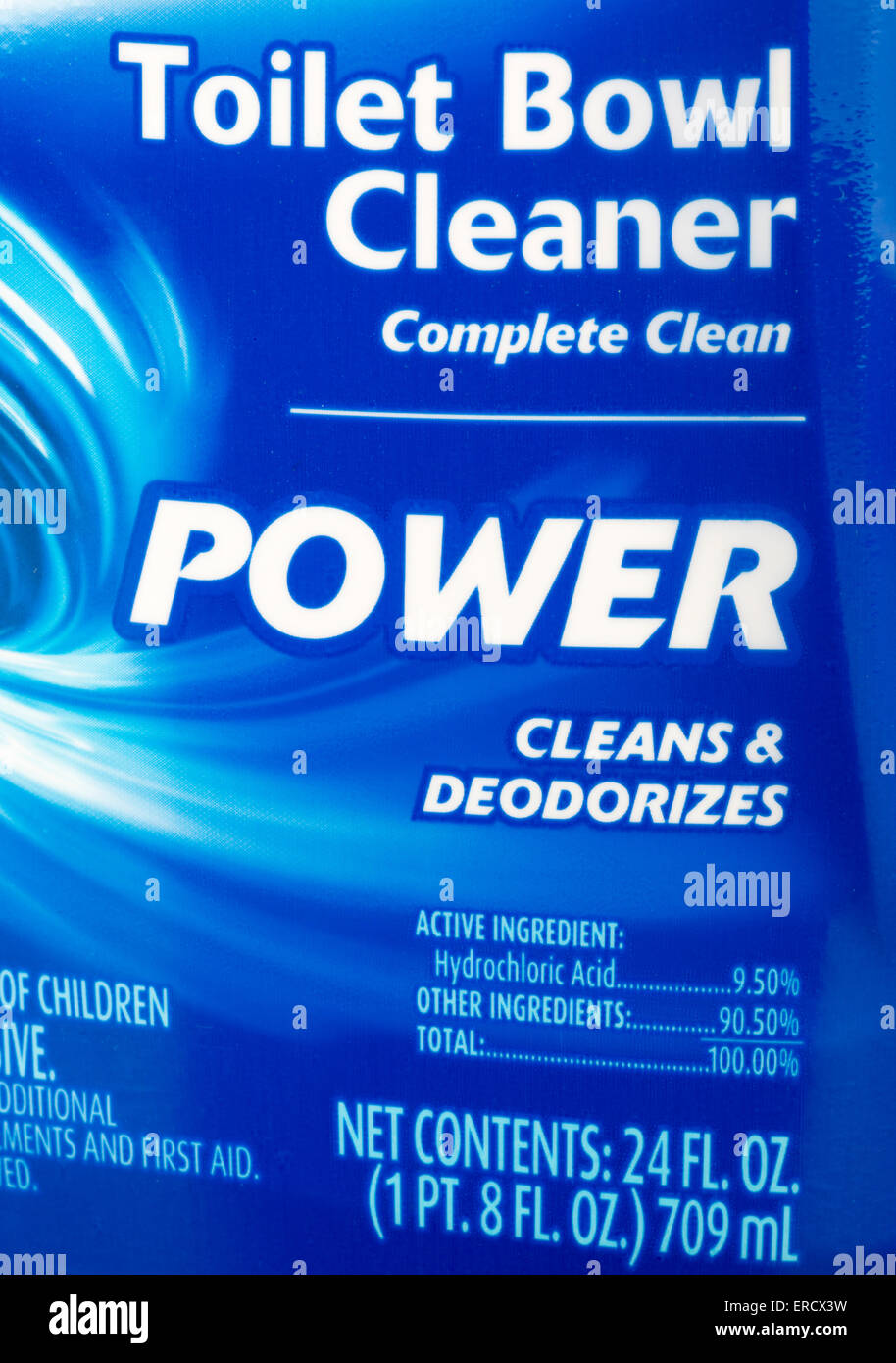 Toilet bowl cleaner label showing Hydrochloric Acid as the active ingredient - Stock Image