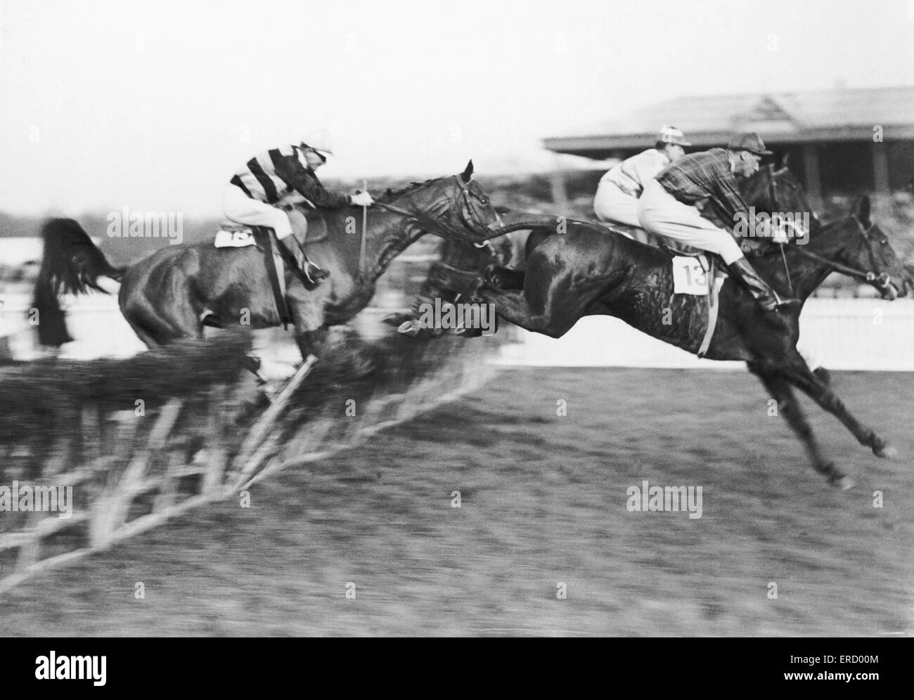 Horseracing action in the Horley Steeplechase Hurdle at Gatwick. 9th January 1925. Stock Photo