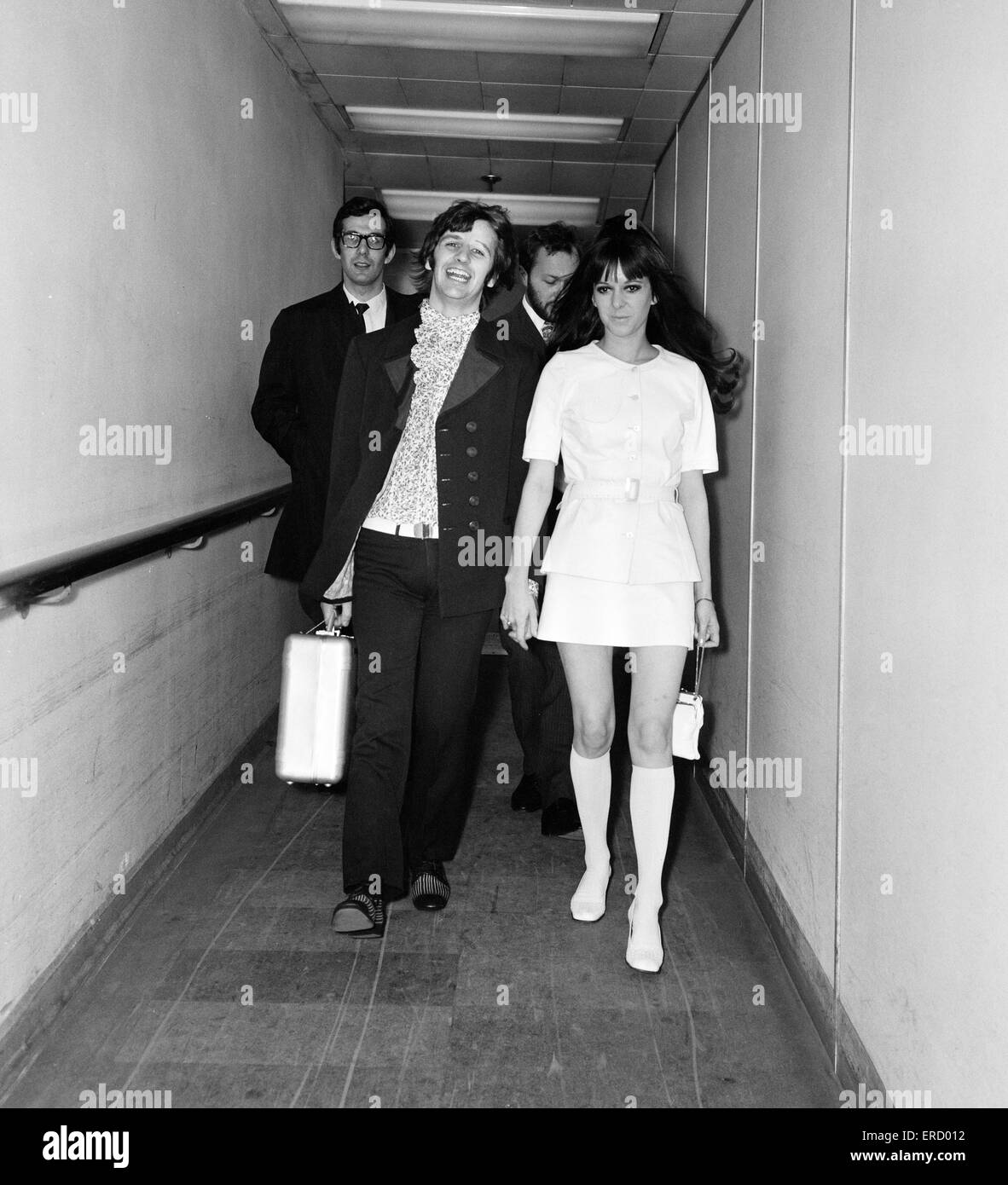 Ringo Starr and wife Maureen Starkey, on their way to Nice, to attend the 21st Cannes Film Festival in France, pictured - Stock Image