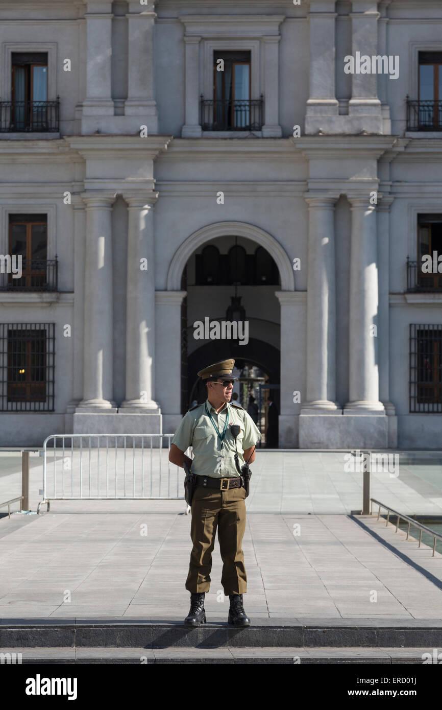 guard, Palacio de La Moneda (Coin Palace), Santiago, Chile - Stock Image