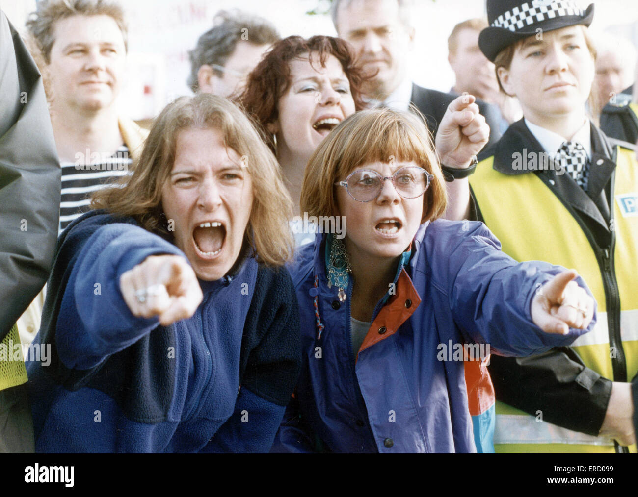 Timex strike 7th June 1993. Fury at the gates sacked Timex workers outside the factory. The Timex Strike was a major - Stock Image