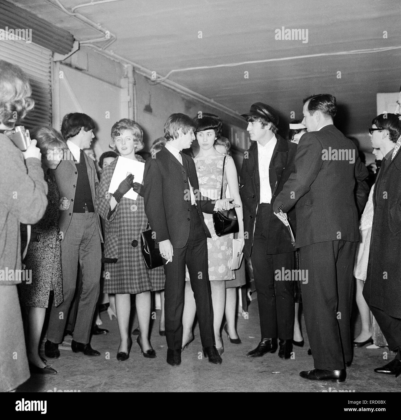 Meet The Beatles Competition Winners, run by the Sunday Mirror Newspaper,  meet with The Beatles backstage at the - Stock Image