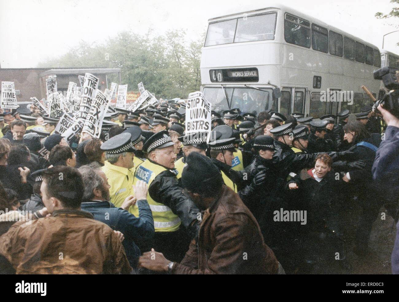 Timex strike 29th August 1993. Police and pickets clash at the height of the bitter dispute. The Timex Strike was - Stock Image