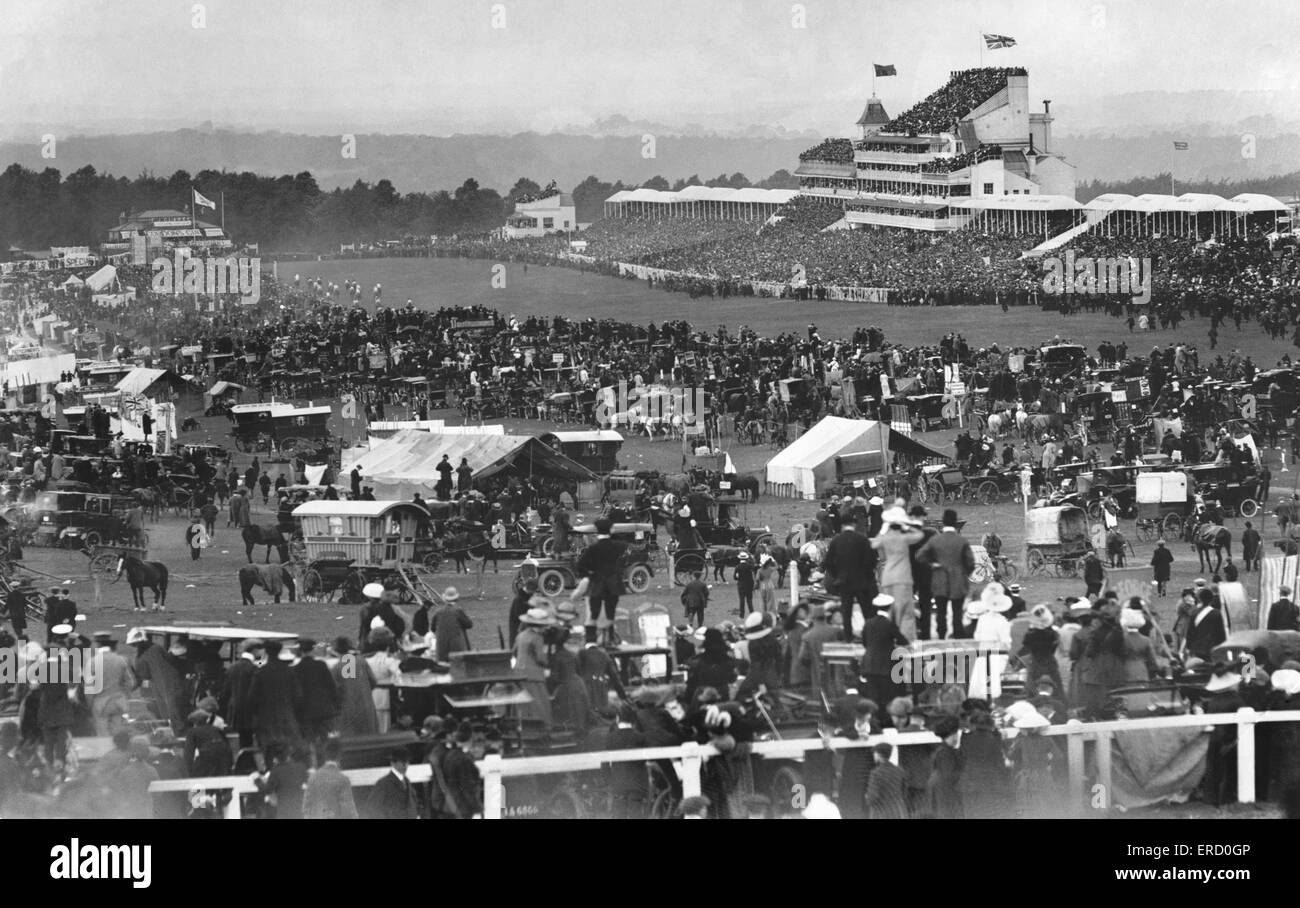general scenes of the Derby at Epsom, circa 1900. - Stock Image