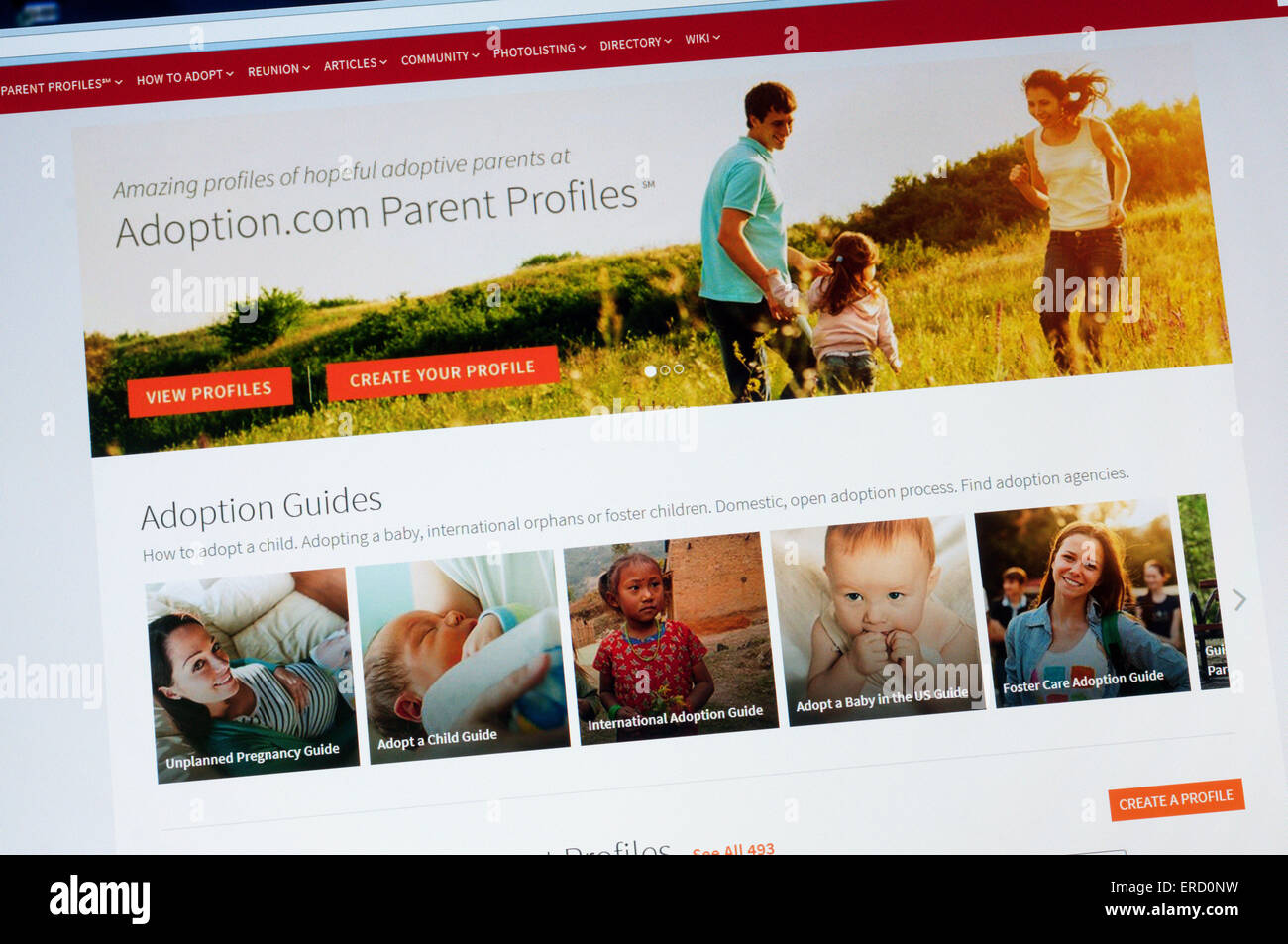 The home page of the Adoption.com website. - Stock Image
