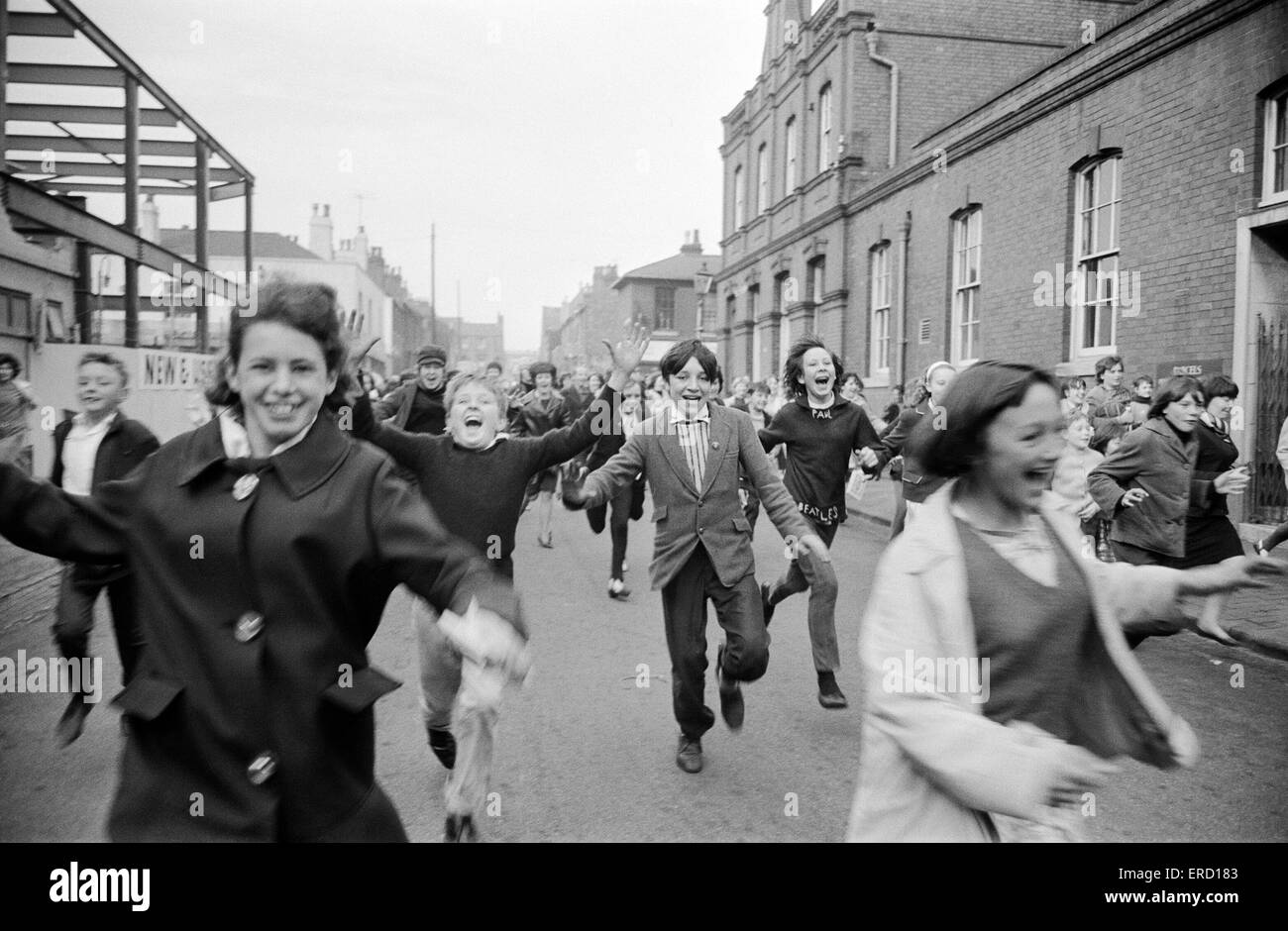 Fan hysteria outside ABC TV Studios, Aston Road, Birmingham, where The Beatles were recording a performance for - Stock Image
