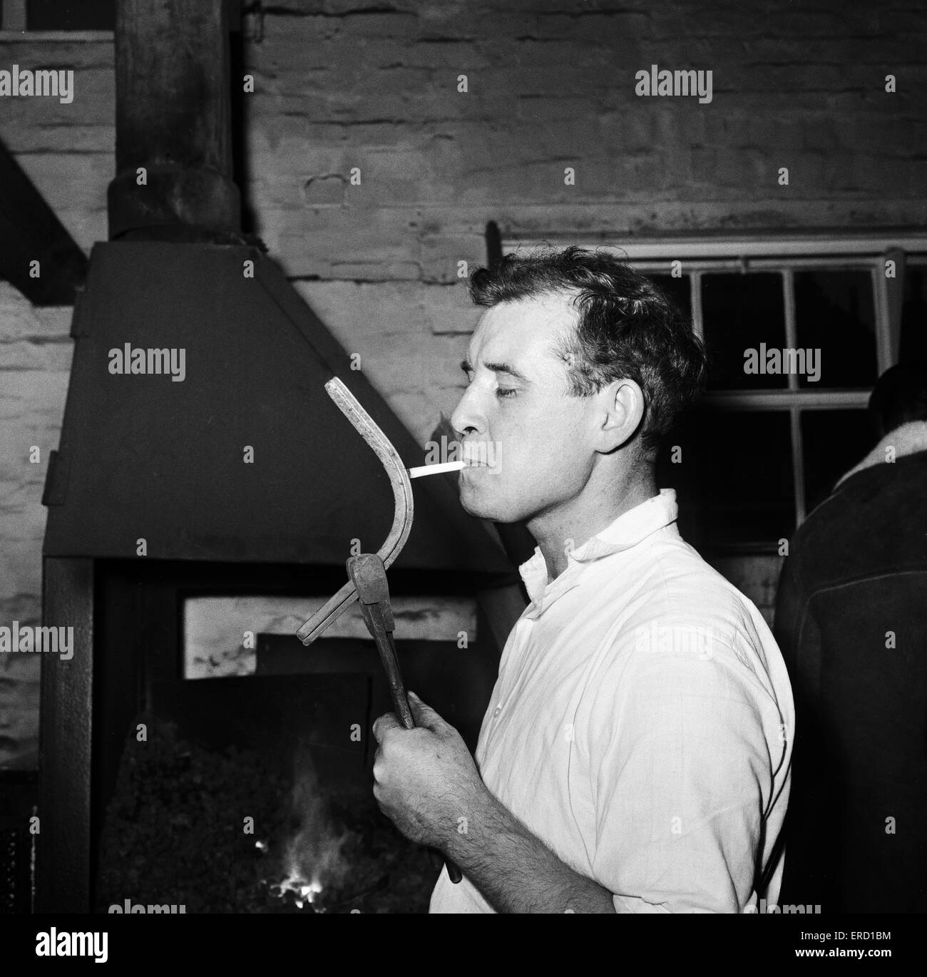 Pictures takes at stables at Newmarket, behind the scenes Horse shoe maker in the Newmarket forge. 3rd March 1964. - Stock Image