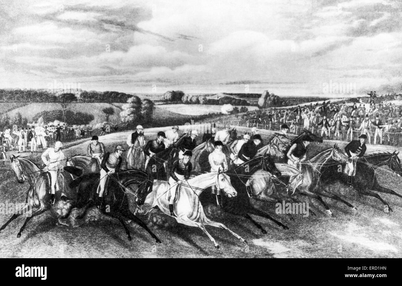 Horseracing Illustration- the start of the Derby race, 1837. Stock Photo