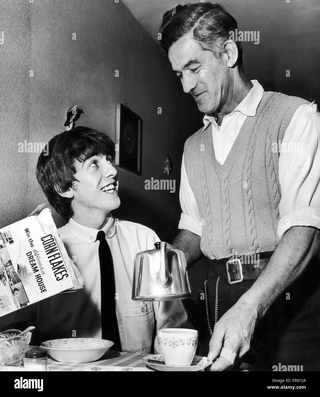 George Harrison Sits Down To Breakfast With His Father Harold Hargreaves At Home In Liverpool Where He Returned For A Concert The Empire