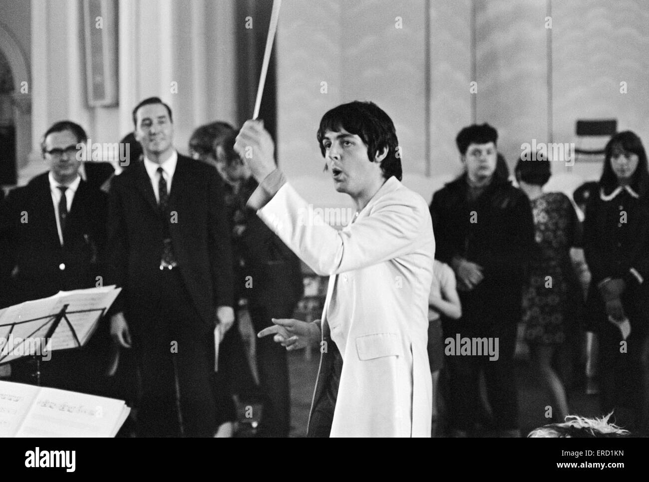 Paul McCartney of The Beatles, conducts the Black Dyke Mills