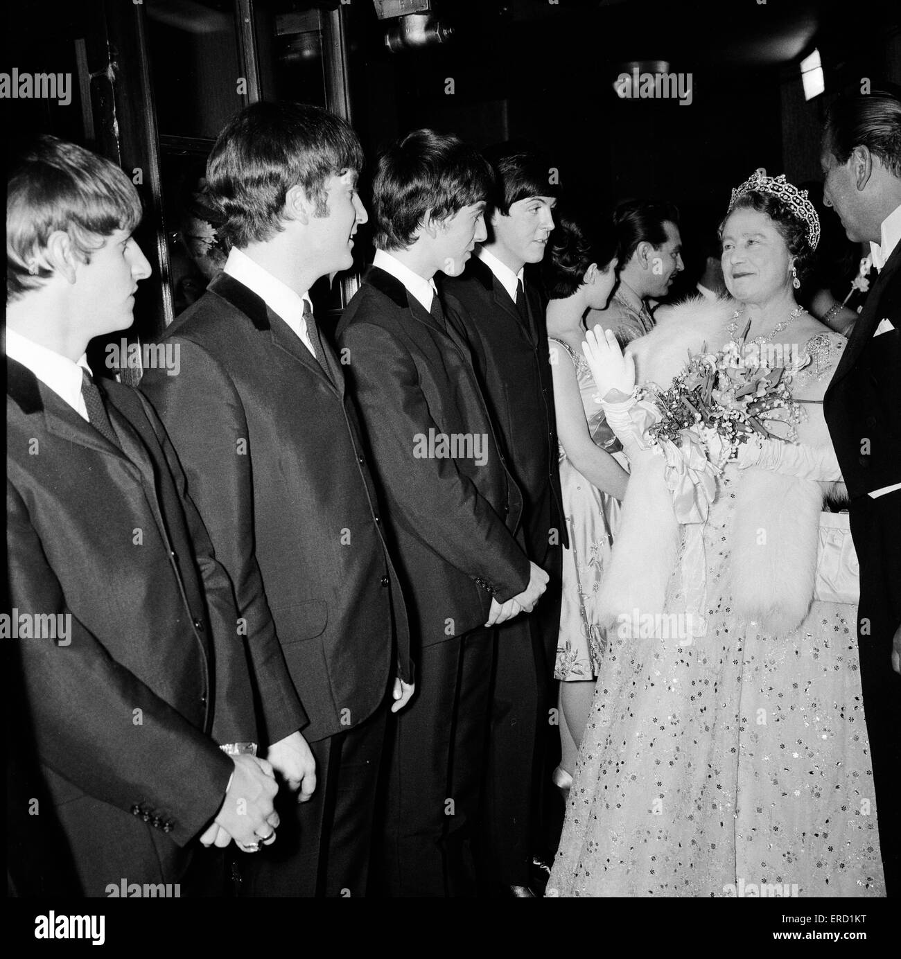 The Beatles meet HRH Queen Elizabeth The Queen Mother, after their apearance at the Variety Performance, at the - Stock Image