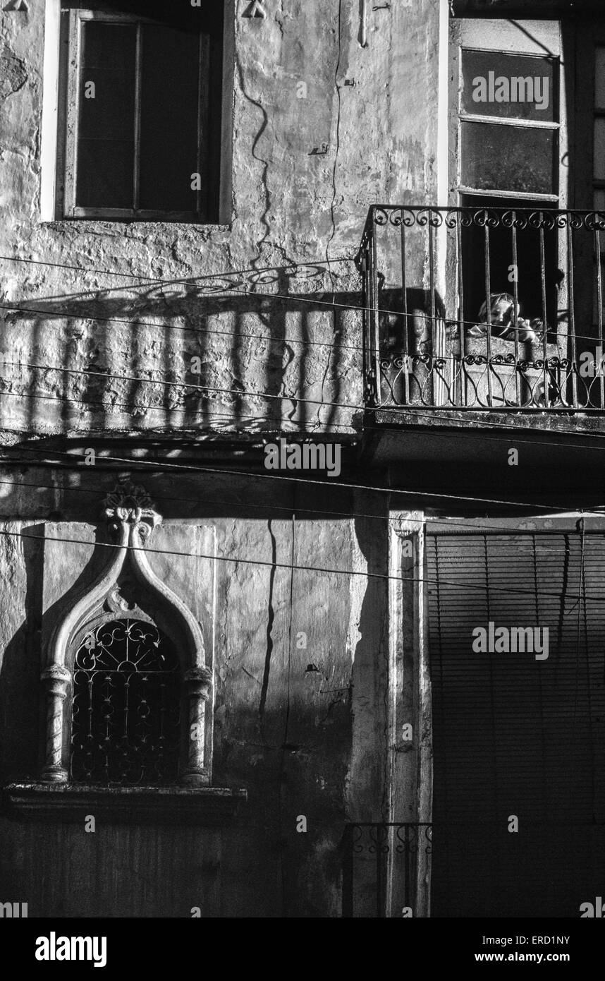 Shadows on the facade of an old house in the small Aragonese town of Barbasto in Huesca province, north east Spain - Stock Image