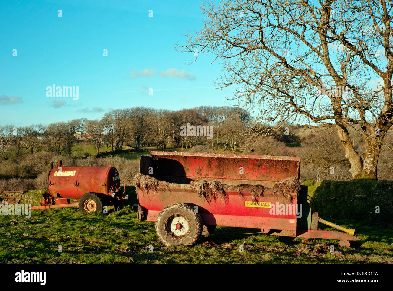 tractor, manure, muck spreader, silage, farming,  farm, cow, dung, odor, control, cultivated, land, soil, tank, - Stock Image