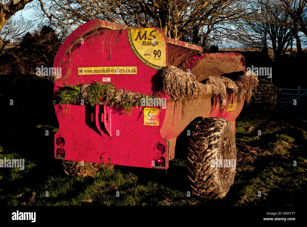 tractor, manure,muck Spreader, silage, farming,  farm, cow, dung, odor, control, cultivated, land, soil, tank, - Stock Image