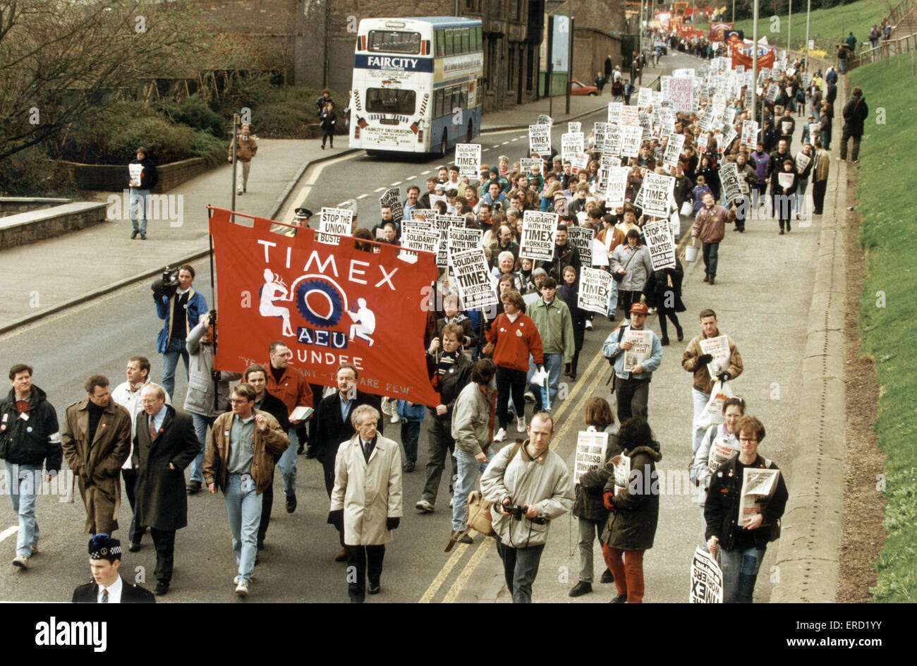 Timex strike 20th March 1993. The Timex Strike was a major industrial dispute which took place in Dundee Scotland - Stock Image