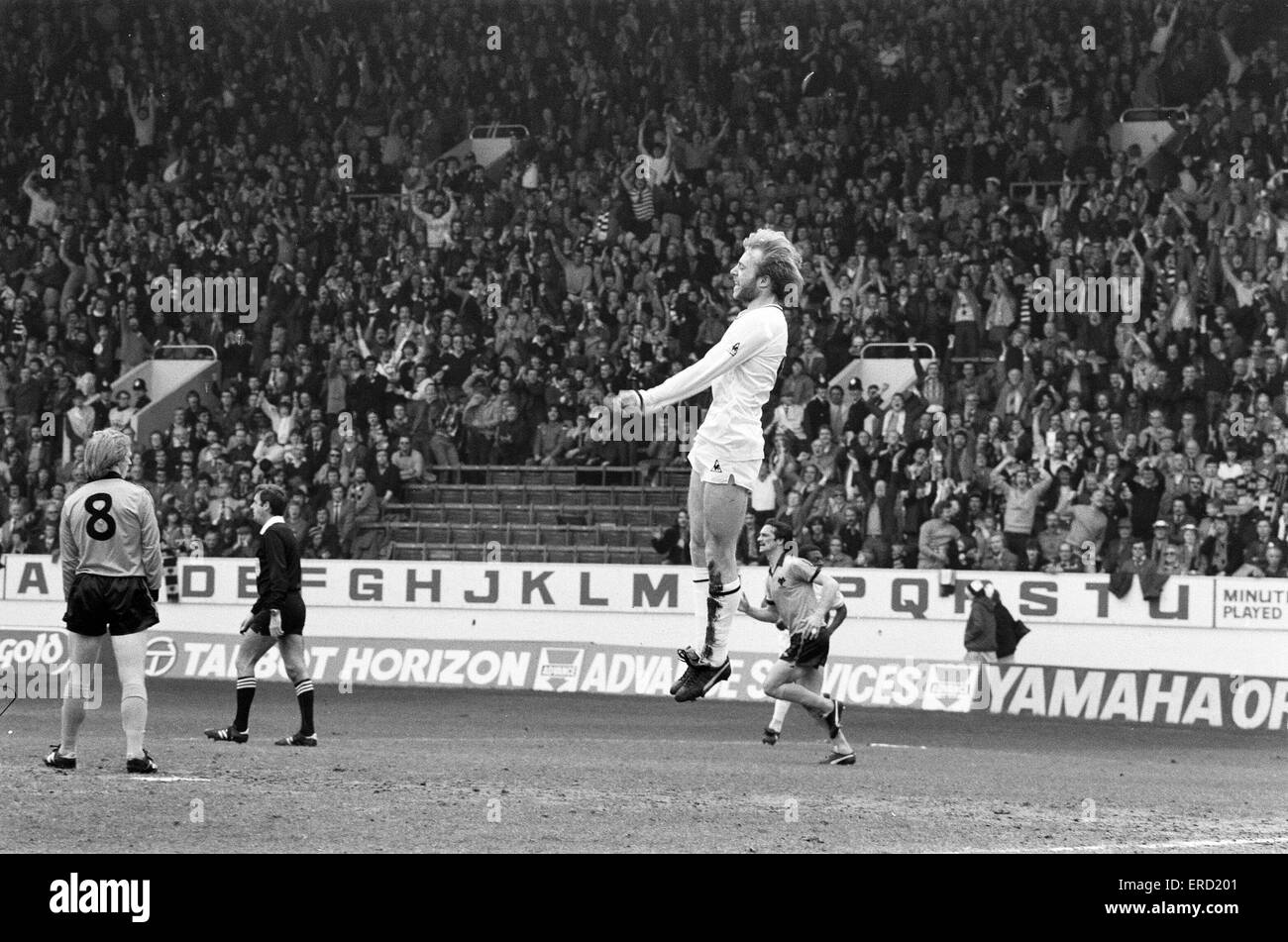 Spurs V Wolves FA Cup Semi Final Played At Hillsborough Steve Archibald Jumps In Celebration After Scoring A Goal For 11th April 1981