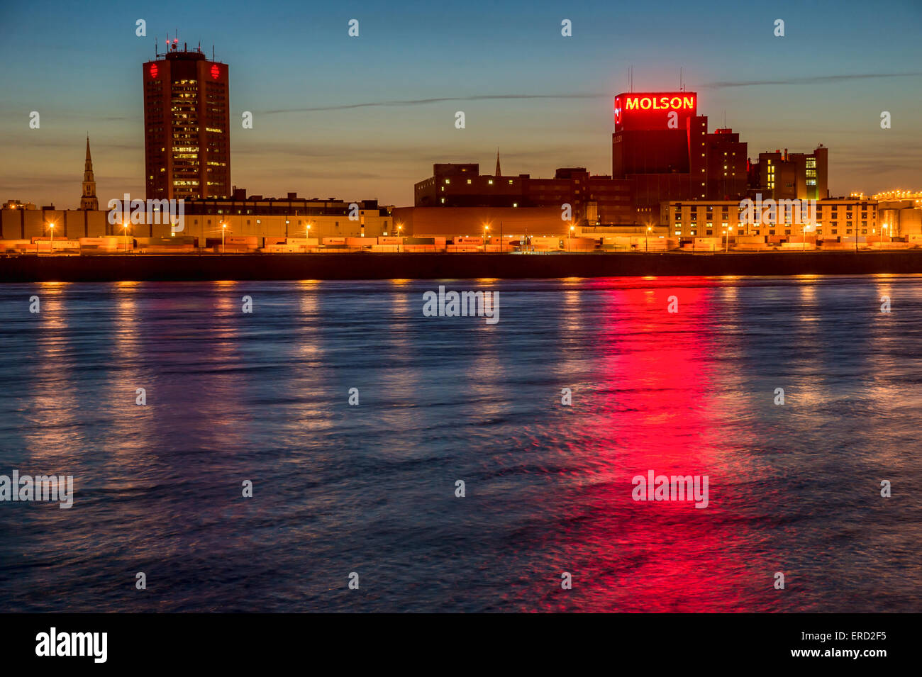 Radio-Canada building and Molson Brewery in Montreal, Canada, at sunset. - Stock Image