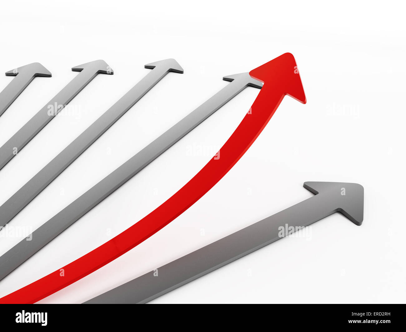 Red arrow among gray ones moving up - Stock Image