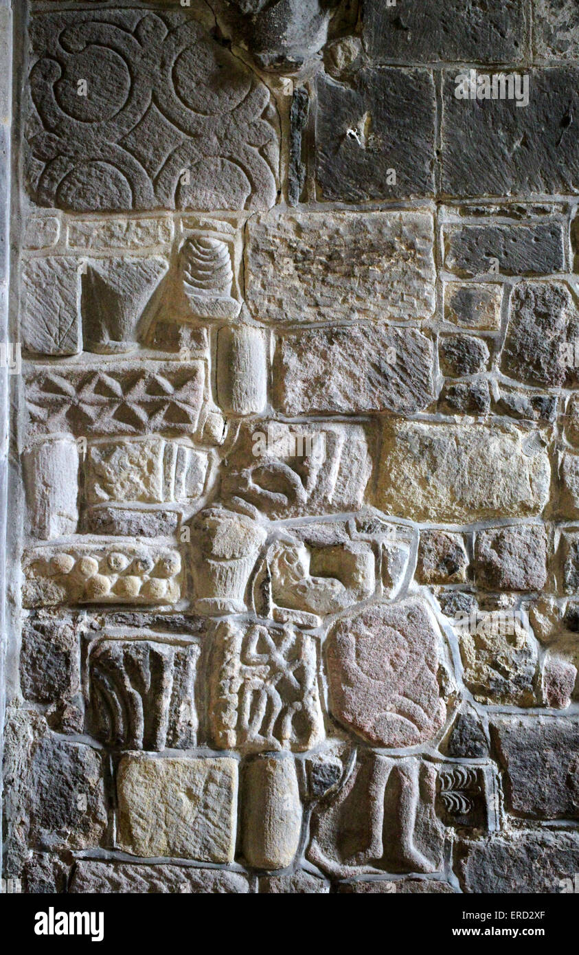 Anglo-Saxon carvings at Saint Marys Church in Wirksworth - Stock Image