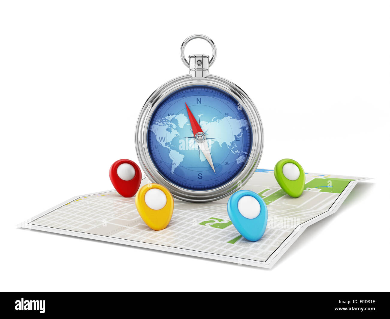 Navigation map with compass and markers isolated - Stock Image