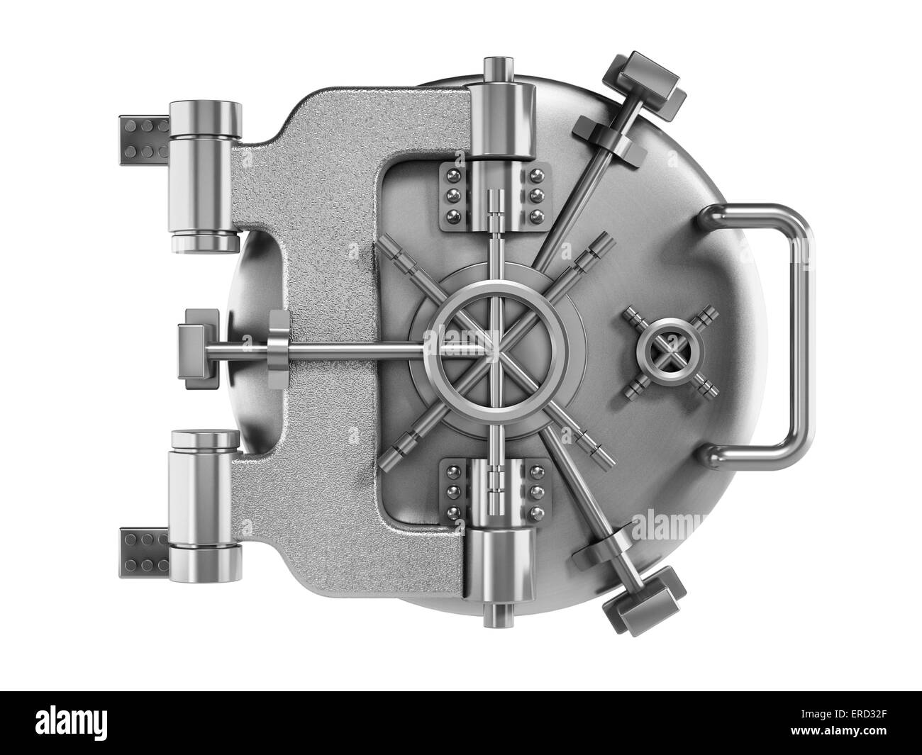 Vaulted metal bank door isolated on white - Stock Image