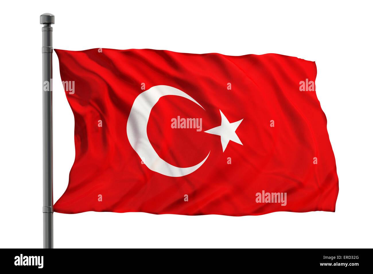 Flag of turkey on white background - Stock Image