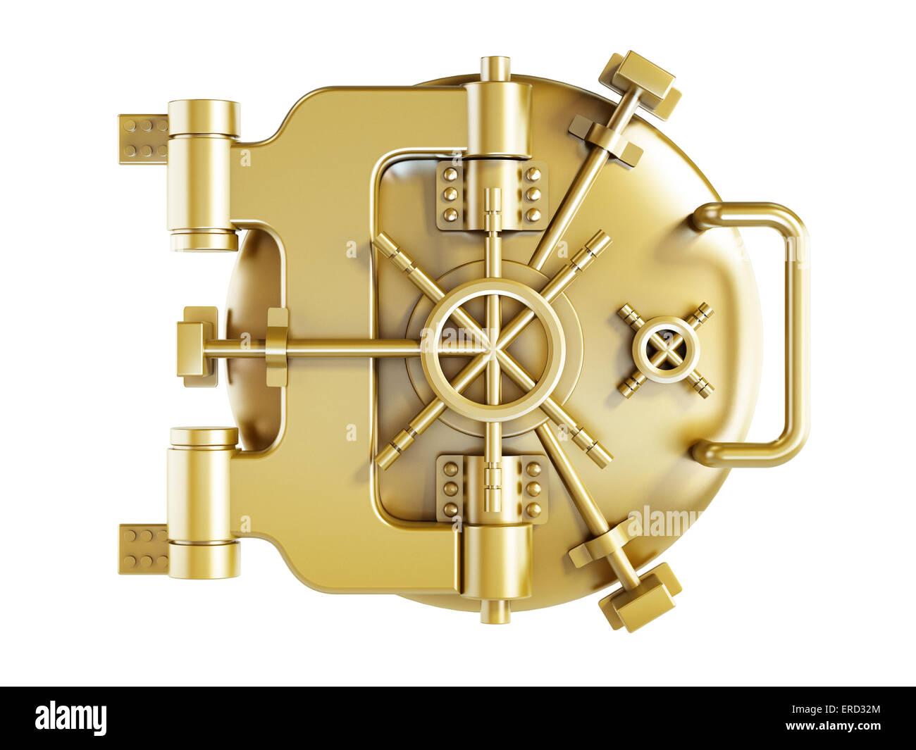 Vaulted metal bank door - Stock Image