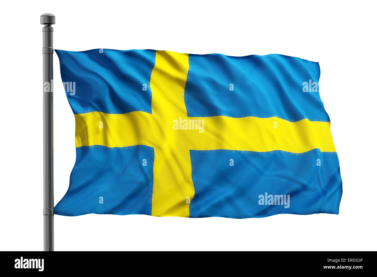 Flag of sweden isolated on white background - Stock Image
