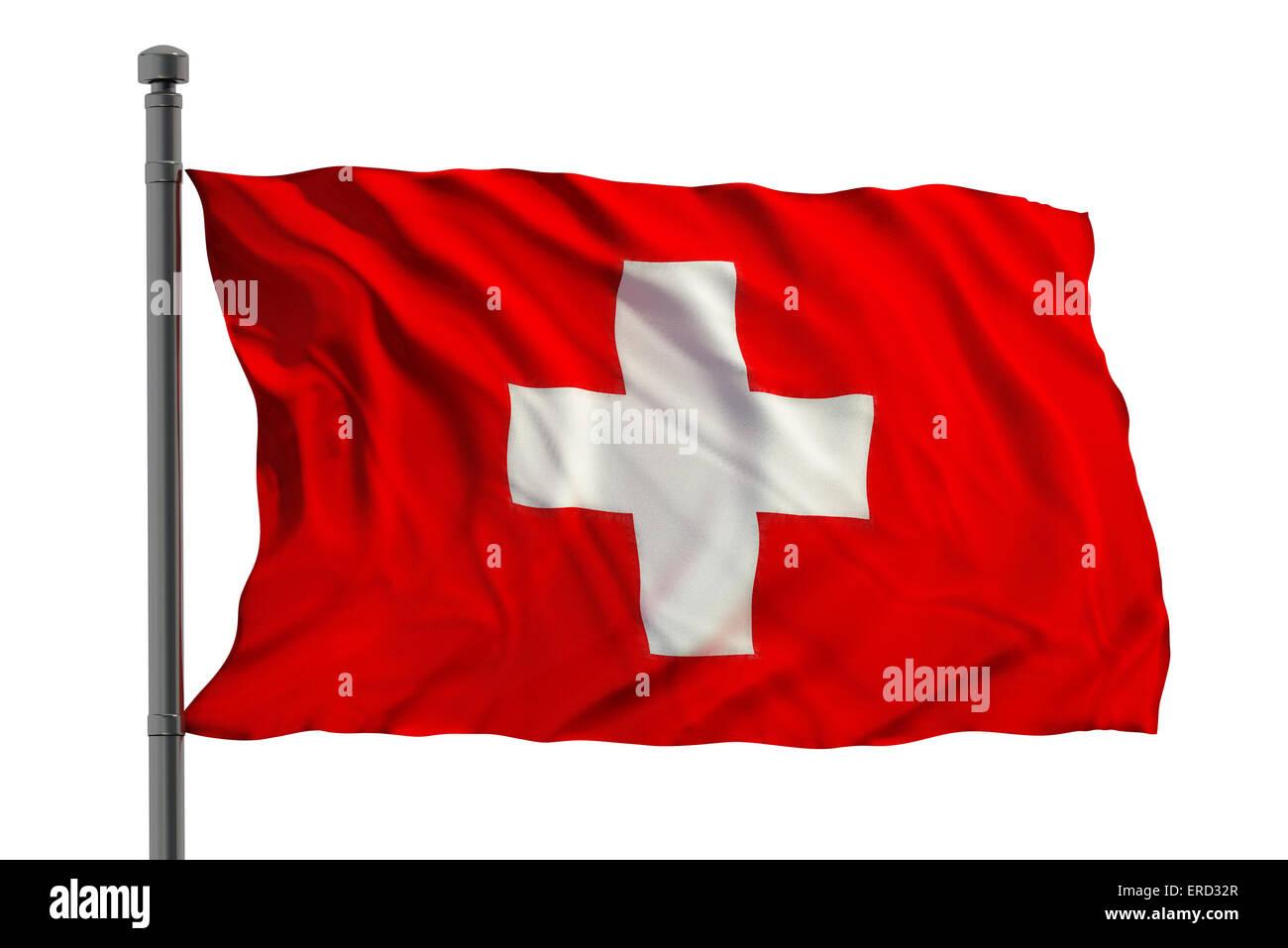 Flag of swiss isolated on white background - Stock Image