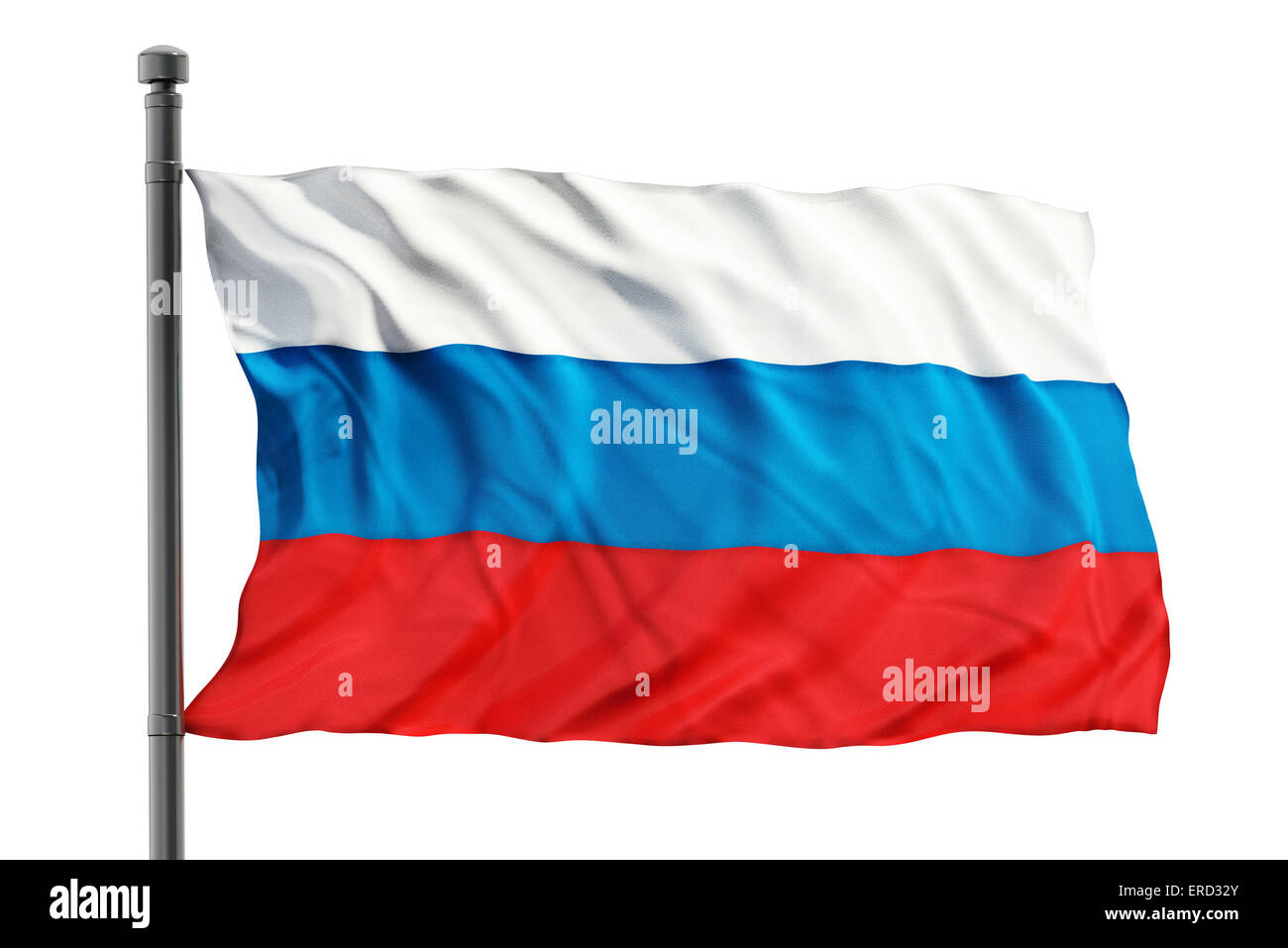 Flag of russia on white background - Stock Image