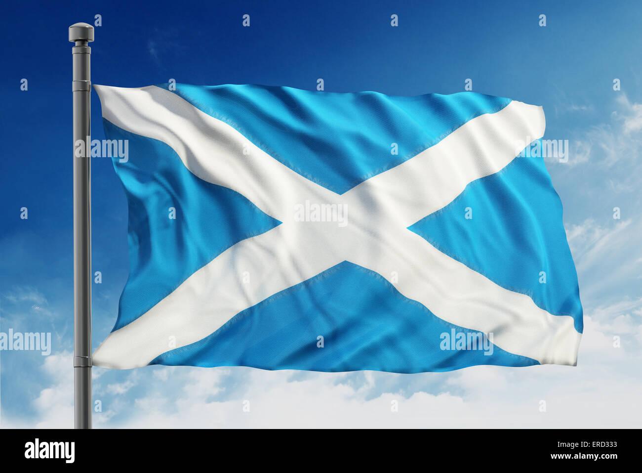 Flag of scotland on blue background - Stock Image