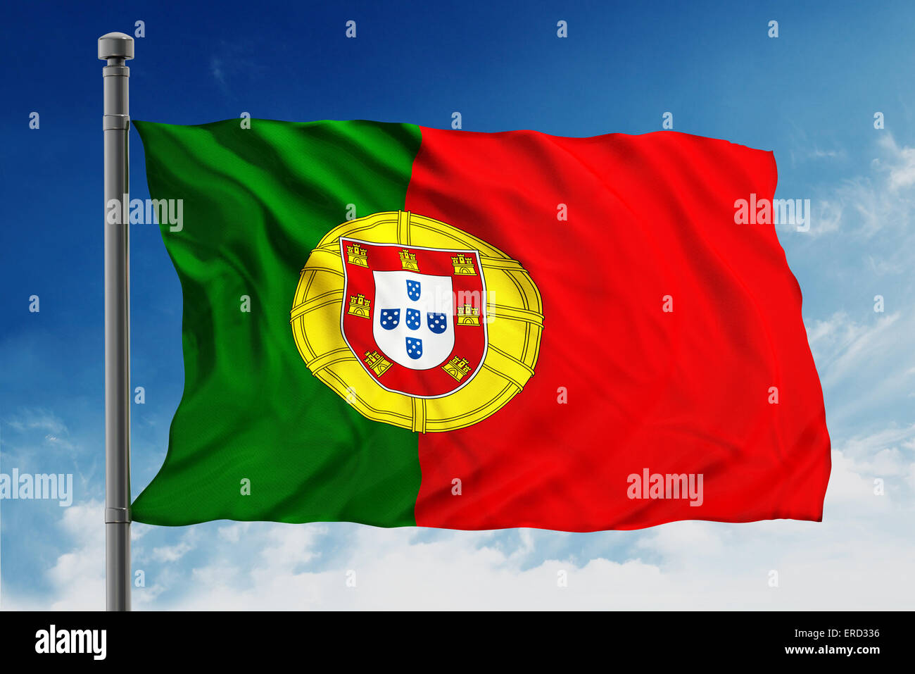Flag of portugal on blue sky background - Stock Image
