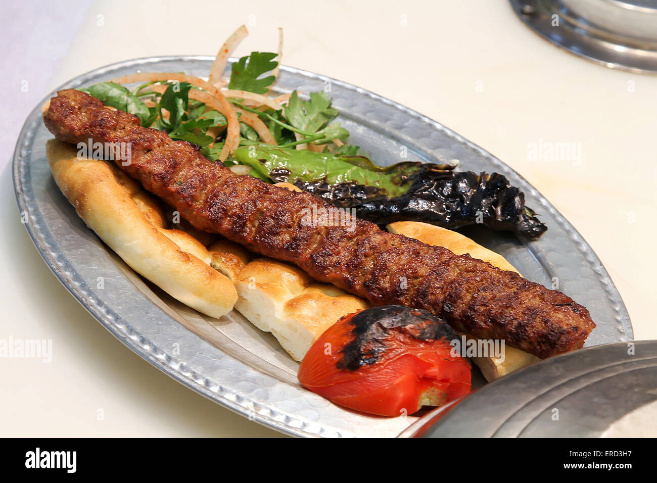 Turkish Kebab Served In An Anatolian Plate Stock Photo Alamy