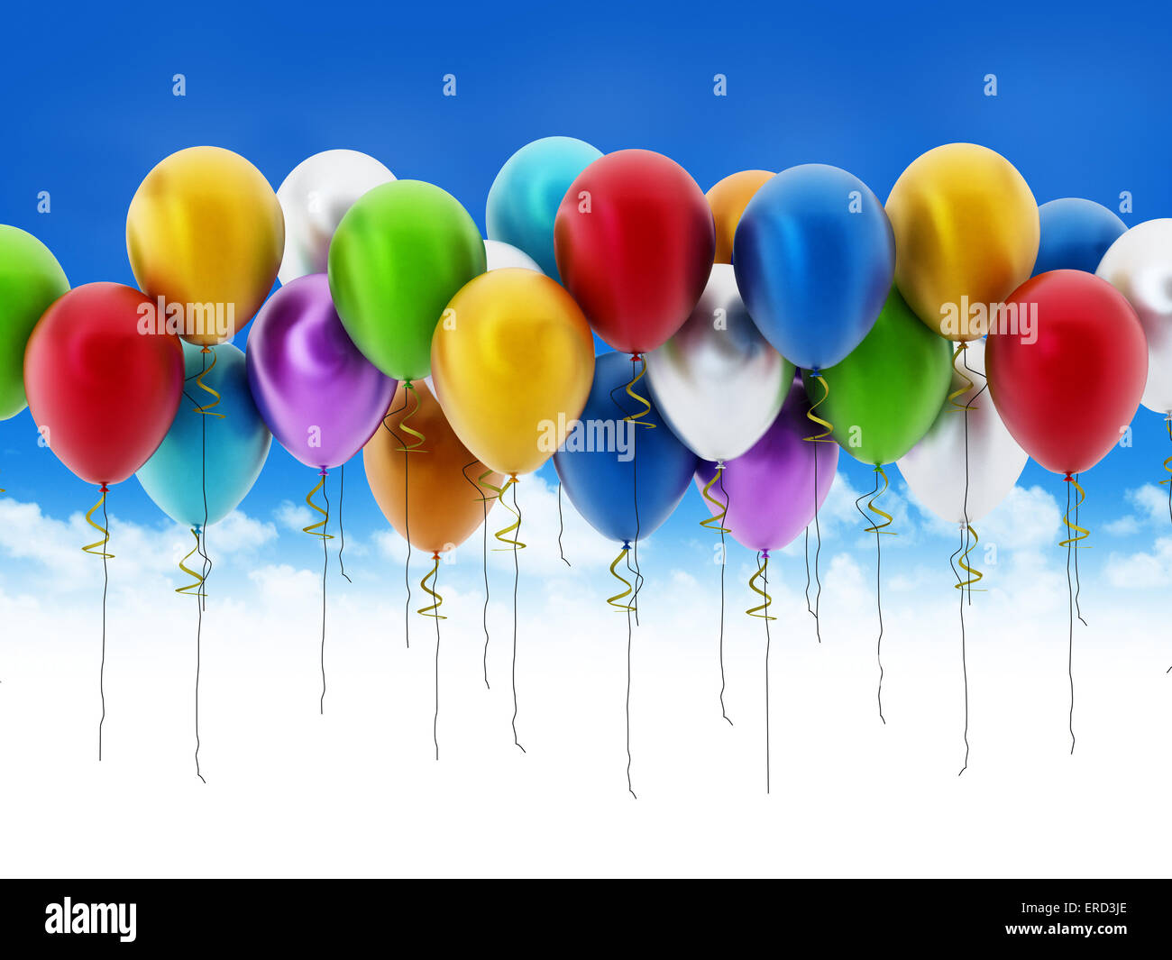 Multi colored decorative party balloons. - Stock Image