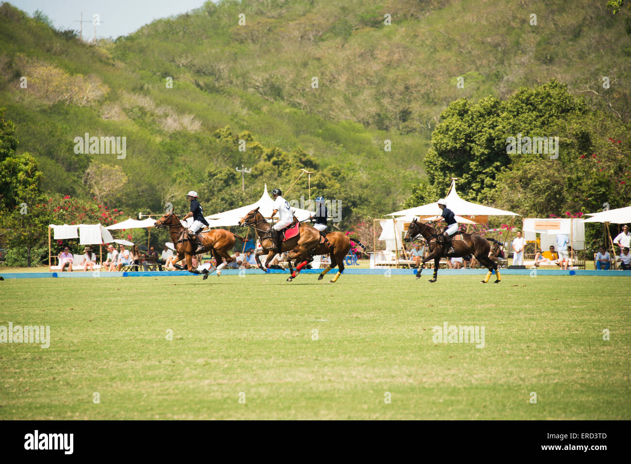 Polo match during Film Festival; Costa Careyes, between Puerta Vallarta and Manzanillo, Mexico. - Stock Image