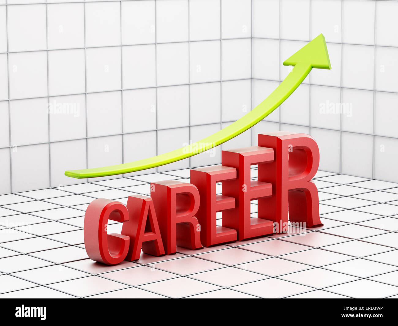 Rising career success wit text and arrow - Stock Image