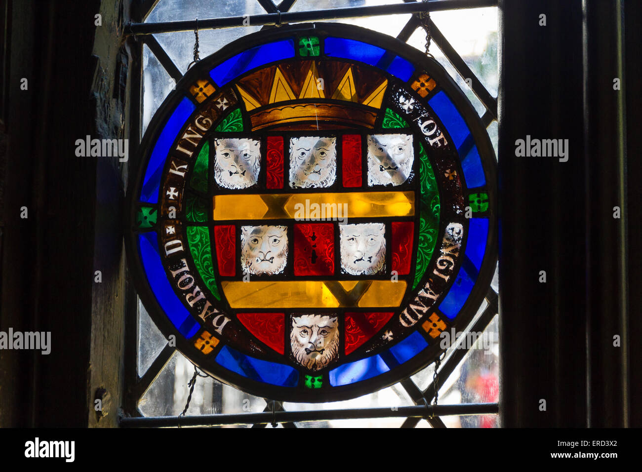 Detail in th stainled glass windows at Speke Hall in Liverpool - Stock Image