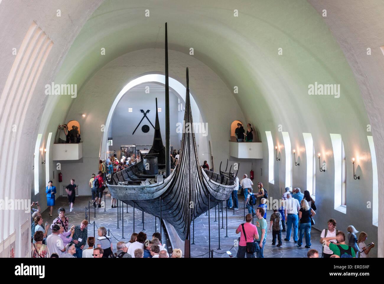 Oslo, Norway. The Viking Ship Museum (Vikingskipshuset på Bygdøy). The Oseberg longship is dated to about - Stock Image