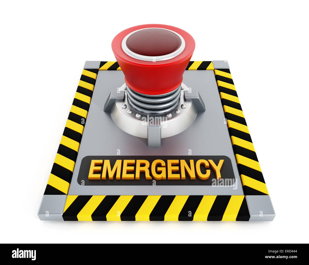 Emergency button isolated on white background - Stock Image