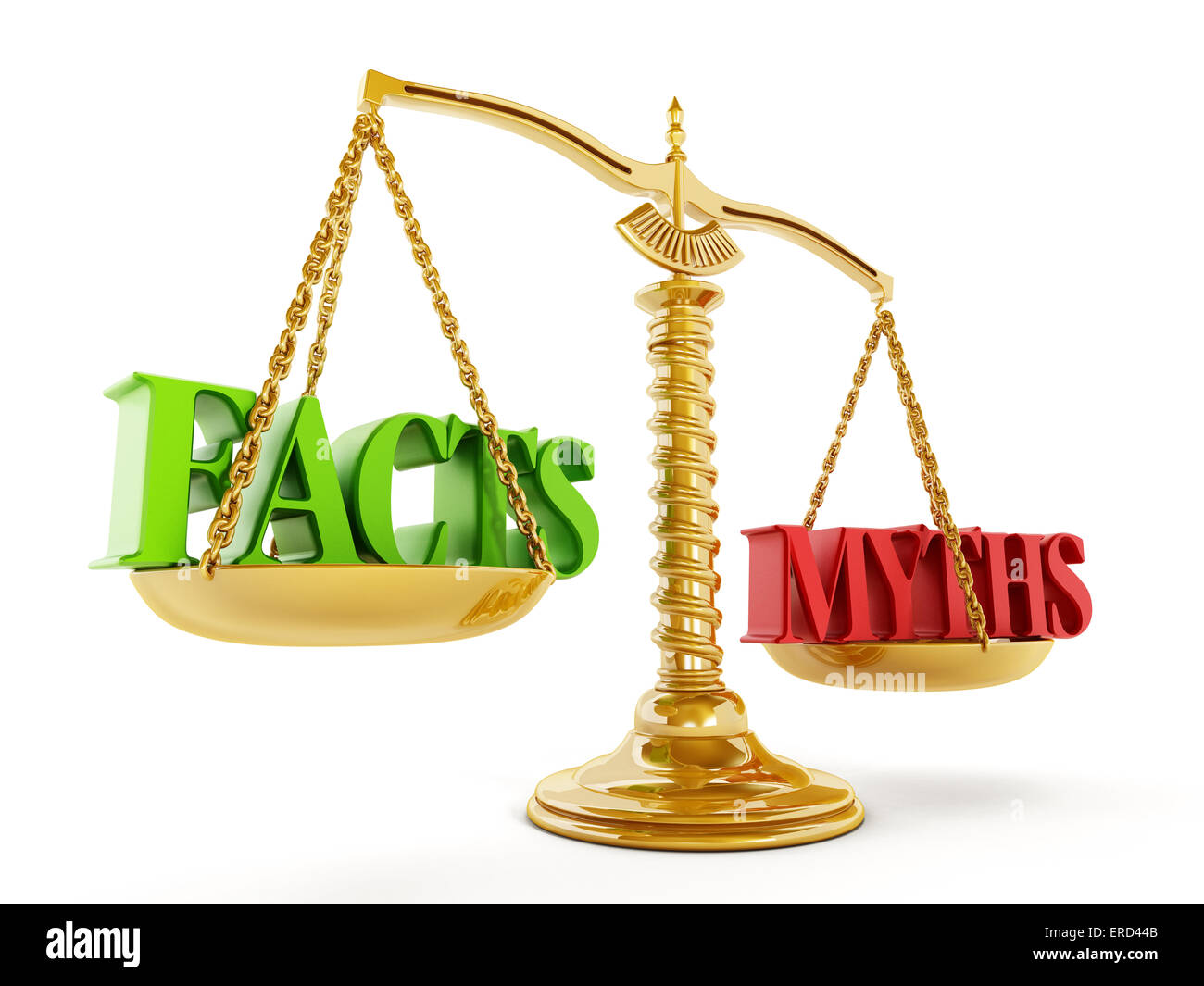 Facts and Myths texts on blanced scale - Stock Image