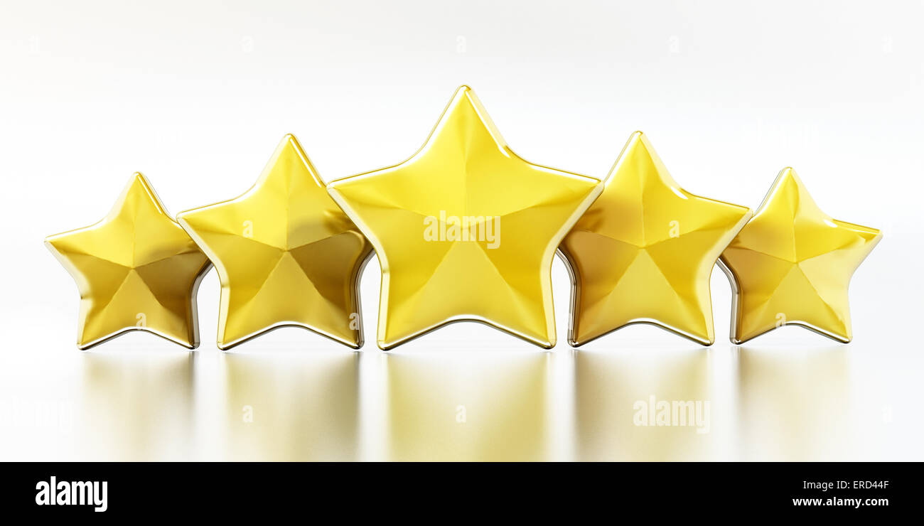 Golden stars on white background. - Stock Image