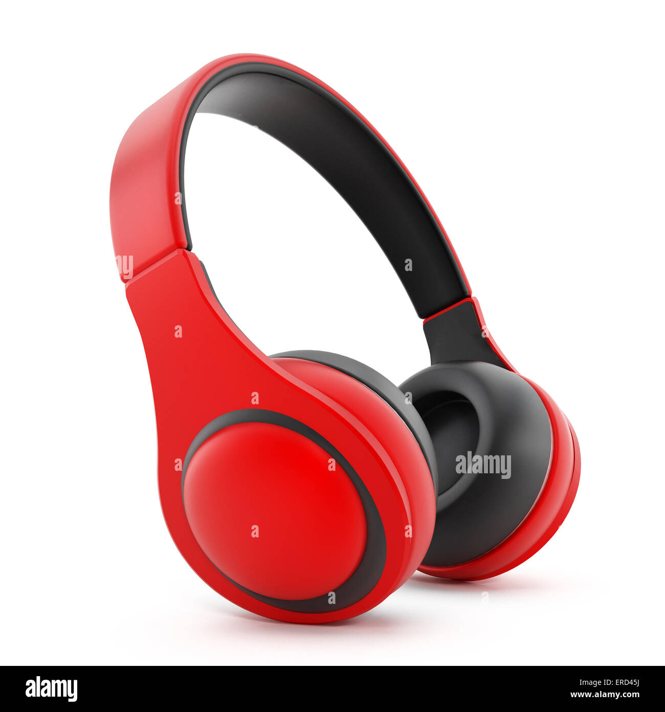 Red headphones isolated on white. - Stock Image