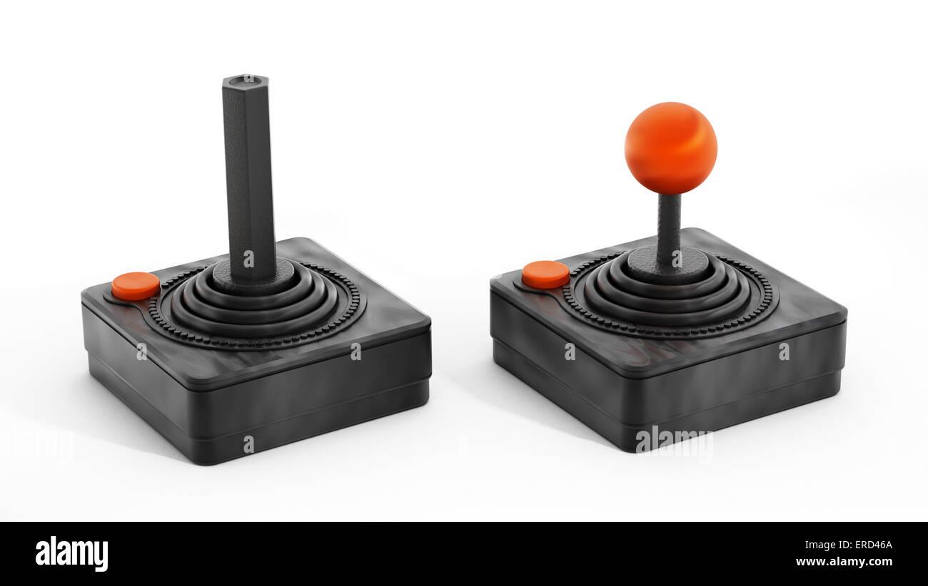 Vintage joystick isolated on white. - Stock Image