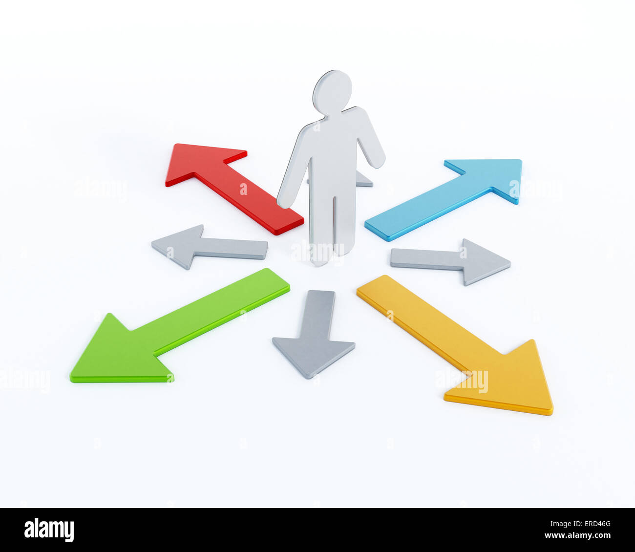 Choices concept with arrows around 3D figure - Stock Image