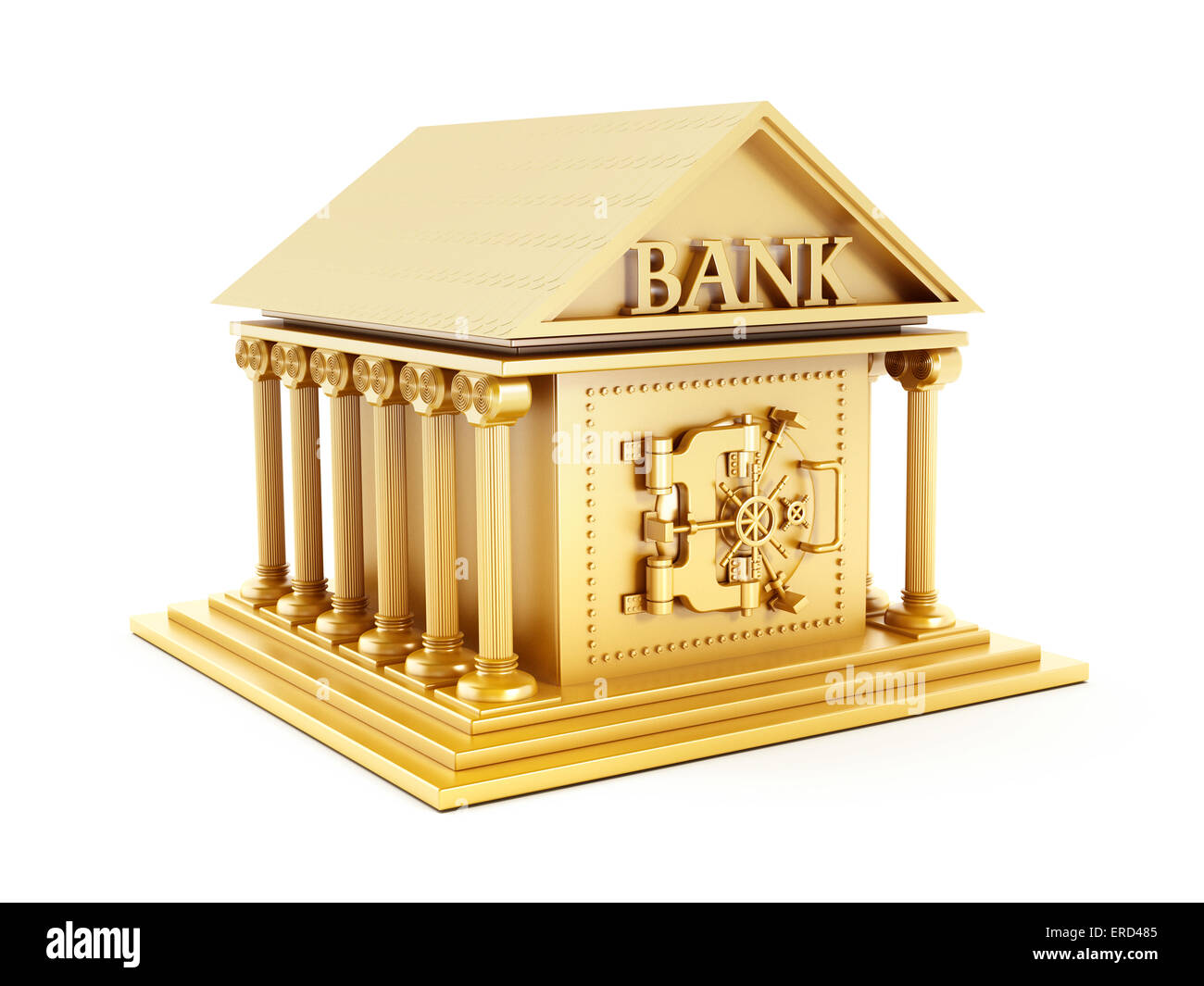 Golden bank building isolated on white. - Stock Image