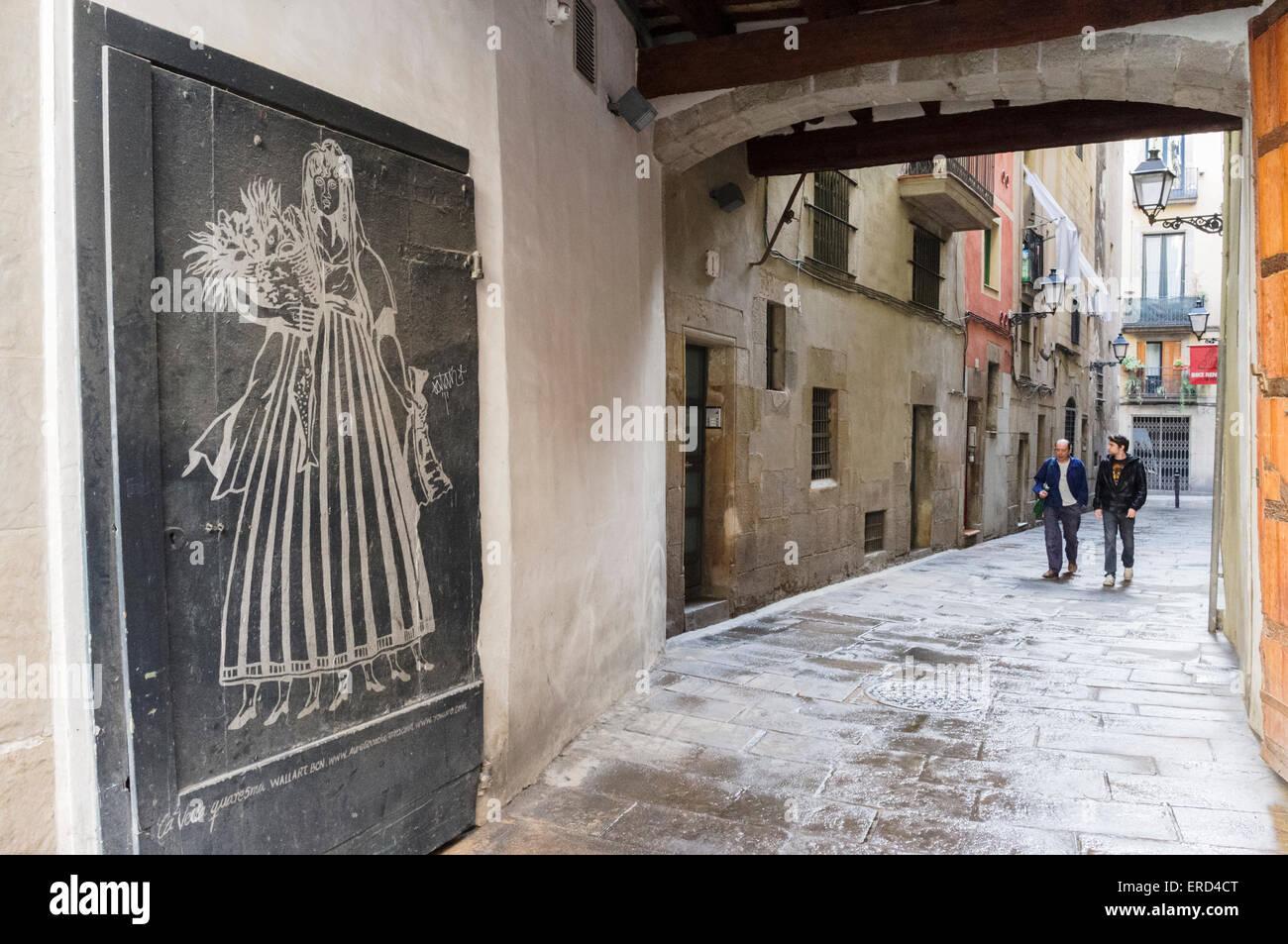 Image of 'La Vella Quaresma' in La Ribera-Born, Barcelona, Catalonia, Spain. Street scene - Stock Image