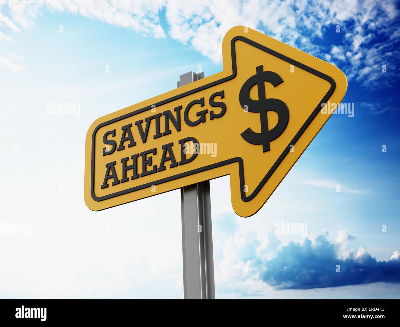 Savings ahead signboard on blue sky - Stock Image